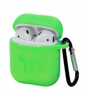 """Silicone Case AirPods (С КАРАБИНОМ) №7 """"Lime Green"""""""