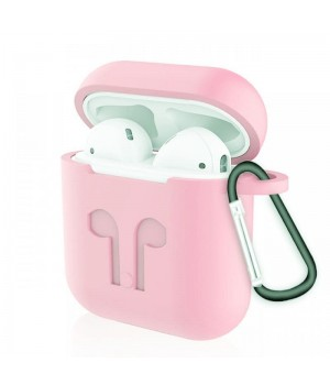"""Silicone Case AirPods (С КАРАБИНОМ) №2 """"Light Pink"""""""